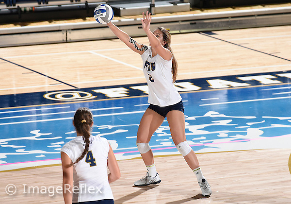 Florida International University women's volleyball outside hitter Lucia Castro (2) plays against  the University of Central Florida which won the match 3-0 on September 17, 2015 at Miami, Florida.