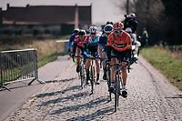 breakaway group over the cobbles<br /> <br /> Driedaagse Brugge-De Panne 2018<br /> Bruges - De Panne (202km)