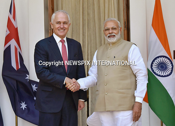 10.04.2017; New Delhi, India: MALCOLM TURNBULL AND INDIAN PM NARENDRA MODI<br /> meet at Hyderabad House in New Delhi.<br /> The Prime Minister of Australia is on an official visit to India.<br /> Mandatory Credit Photo: &copy;NEWSPIX INTERNATIONAL<br /> <br /> IMMEDIATE CONFIRMATION OF USAGE REQUIRED:<br /> Newspix International, 31 Chinnery Hill, Bishop's Stortford, ENGLAND CM23 3PS<br /> Tel:+441279 324672  ; Fax: +441279656877<br /> Mobile:  07775681153<br /> e-mail: info@newspixinternational.co.uk<br /> **All Fees Payable To Newspix International**