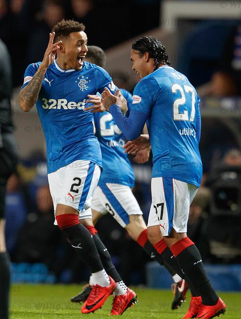 James Tavernier celebrates with Carlos Peña