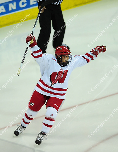 Badger sophomore, Breann Frykas, celebrates a goal, as University of Wisconsin women's hockey team tops North Dakota 8-4 on Sunday, 2/13/11, at the Kohl Center in Madison, Wisconsin