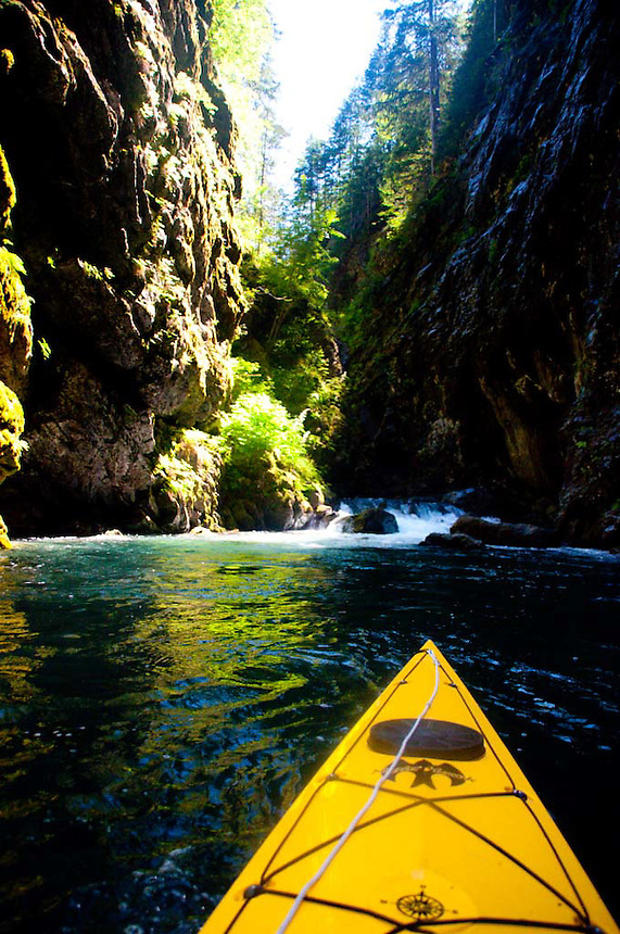 Yellow Kayak in Devil's Gulch, Ross Lake National Recreation Area, North Cascades National Park, Washington, US