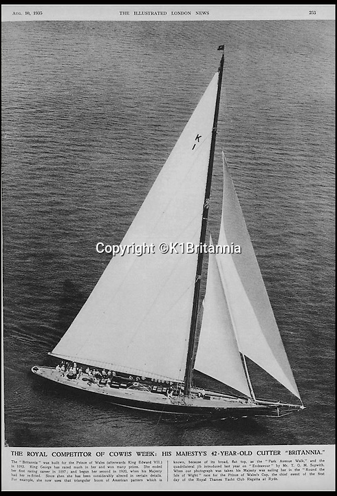 BNPS.co.uk (01202 558833)<br /> Pic: K1Britannia/BNPS<br /> <br /> ***Please Use Full Byline***<br /> <br /> The Britannia sailing at Cowes week in 1935. <br /> <br /> An 8 million pounds appeal has been launched to resurrect one of the most famous and best loved racing yachts of all time - the 'King's yacht' Britannia.<br /> <br /> The historic 177ft yacht was built for playboy prince Albert in 1893 and became an instant star of the sailing scene, winning 33 of 43 prestigious races  in her first year alone.<br /> <br /> The stunning Royal yacht became known the world over and enjoyed an illustrious racing career at the hands of Albert, who went on to become King Edward VII.<br /> <br /> Edward's son George V continued the love affair with Britannia, dubbed 'the King's yacht', so much so that on his death in 1936 she was deliberately sunk off the Isle of Wight.<br /> <br /> Now, 78 years on, campaigners are nearing the final stages of a project to complete an an inch-perfect replica of Britannia which has been 20 years in the making.<br /> <br /> The instantly recognisable hull is finished but around six million pounds is needed to transform it into a yacht worthy of Royalty. <br /> <br /> The yacht, which will cost an extra one million pounds a year to run, will then be taken all round the world so it can be enjoyed by charities and future generations.