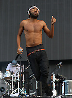 Childish Gambino dances during his performance during The New Look Wireless Music Festival at Finsbury Park, London, England on Saturday 04 July 2015. Photo by Andy Rowland.