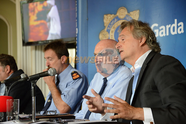 Supt Micheal Devine, Denis Desmond MCD and Lord Henry Mt Charles, during the Garda press conference in Slane Castle ahead of the concert in two weeks.<br /> Picture:  Andy Spearman / www.newsfile.ie