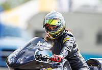 Aug 20, 2016; Brainerd, MN, USA; NHRA pro stock motorcycle rider Angelle Sampey during qualifying for the Lucas Oil Nationals at Brainerd International Raceway. Mandatory Credit: Mark J. Rebilas-USA TODAY Sports