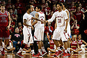 December 14, 2013: Ray Gallegos (15) gives Shavon Shields (31) of the Nebraska Cornhuskers five in the game against the Arkansas State Red Wolves Nebraska defeated Arkansas State 79 to 67.