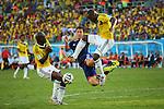 (L to R) <br /> Shinji Okazaki (JPN), <br /> Eder Balanta (COL), <br /> JUNE 24, 2014 - Football /Soccer : <br /> 2014 FIFA World Cup Brazil <br /> Group Match -Group C- <br /> between Japan 1-4 Colombia <br /> at Arena Pantanal, Cuiaba, Brazil. <br /> (Photo by YUTAKA/AFLO SPORT)