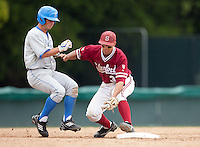 STANFORD, CA - April 23, 2011: Kenny Diekroeger of Stanford baseball catches a pickoff from home during Stanford's game against UCLA at Sunken Diamond. Stanford won 5-4. The runner was called safe.