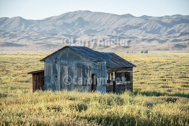 Early 20th century wooden Harris grain combines, abandoned farm, Van Matre Ranch, Carrizo Plain, San Luis Obispo County, Calif.