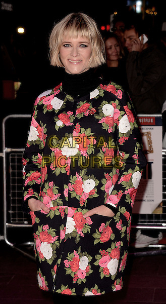 Edith Bowman .'Gambit' world film premiere, Empire cinema, Leicester Square, London, England..7th November 2012..half length black pink white floral print green red jacket coat high collar polo neck turtleneck top hands in pockets.CAP/WIZ.© Wizard/Capital Pictures.