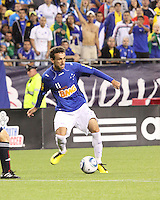 Cruzeiro forward Thiago Ribeiro prepares to cross the ball into midfield.  Brazil's Cruzeiro beat the New England Revolution, 3-0 in a friendly match at Gillette Stadium on June 13, 2010