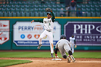Fort Wayne TinCaps shortstop Xavier Edwards (9) during a Midwest League game against the Quad Cities River Bandits at Parkview Field on May 3, 2019 in Fort Wayne, Indiana. Quad Cities defeated Fort Wayne 4-3. (Zachary Lucy/Four Seam Images)