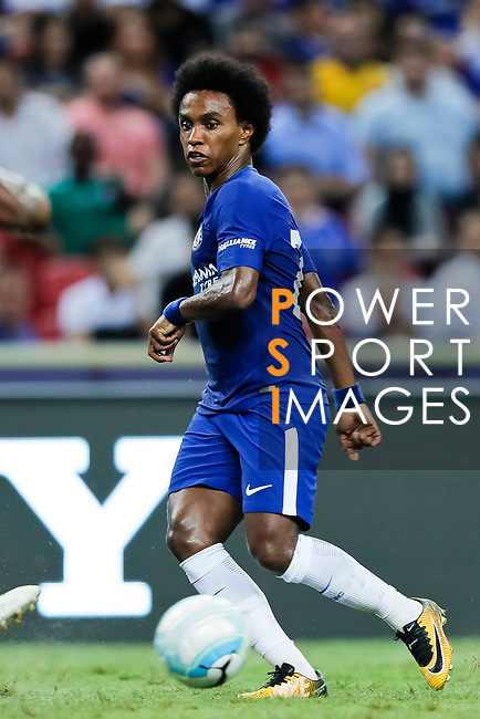 Chelsea Midfielder Willian da Silva in action during the International Champions Cup match between Chelsea FC and FC Bayern Munich at National Stadium on July 25, 2017 in Singapore. Photo by Marcio Rodrigo Machado / Power Sport Images