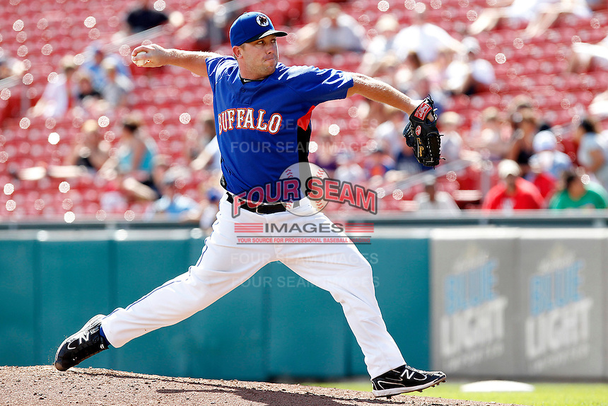 Buffalo Bisons relief pitcher Dale Thayer #31 delivers a pitch during a game against the Toledo Mudhens at Coca-Cola Field on August 17, 2011 in Buffalo, New York.  Buffalo defeated Toledo 4-2.  (Mike Janes/Four Seam Images)