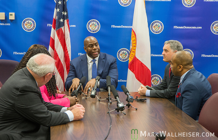 "Earvin ""Magic"" Johnson, retired professional basketball player and current president of operations for the Los Angeles Lakers of the NBA, met with the Florida Senate Democratic Caucus  about health care at the Florida Capitol in Tallahassee Florida March 13, 2017."