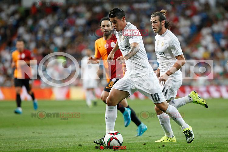 Real Madrid´s James Rodriguez and Gareth Bale during Santiago Bernabeu Trophy match at Santiago Bernabeu stadium in Madrid, Spain. August 18, 2015. (ALTERPHOTOS/Victor Blanco)