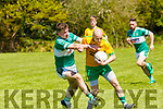 Donal O'Sullivan Gneeveguilla is tackled by Anthony Kennedy  Listry in action in Listry on Sunday
