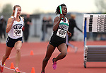 Jazmine Thomas and Nordia Campbell compete in the 4A 4x200 at the NIAA Track & Field Championships at Carson High in Carson City, Nev., on Friday, May 18, 2018. <br /> Photo by Cathleen Allison/Nevada Momentum