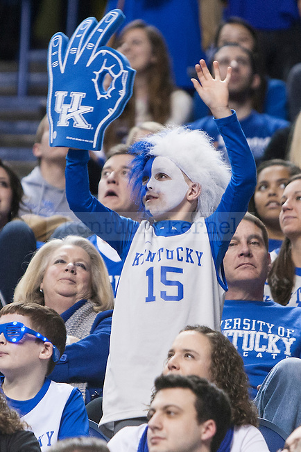 A young fan of the Kentucky Wildcats cheers during the game against the Auburn Tigers at Rupp Arena on Saturday, February 21, 2015 in Lexington, Ky. Kentucky defeated Auburn 110-75. Photo by Michael M Reaves | Staff.