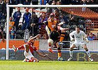 Hull City v Bristol City 2.4.16 .Sky Bet Championship ....... Hulls  curtis davies scores opening goal