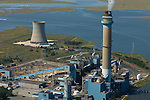 Aerial view of The Beesley's Point Generating Station, also called the B.L. England Generating Station, is a power plant in Upper Township, Cape May County, New Jersey, United States, on the Great Egg Harbor River.
