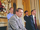White House Chief of Staff Samuel K. Skinner looks on as United States President George H.W. Bush holds a press conference in the East Room of the White House in Washington, DC on June 4, 1992.  In his opening remarks the President discussed the budget deficit and advocated for a balanced budget amendment to the US Constitution.<br /> Credit: Ron Sachs / CNP