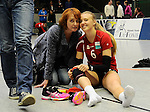 Rüsselsheim, Germany, April 13: Celin Stoehr #6 of the Rote Raben Vilsbiburg poses after winning play off Game 1 in the best of three series in the semifinal of the DVL (Deutsche Volleyball-Bundesliga Damen) season 2013/2014 between the VC Wiesbaden and the Rote Raben Vilsbiburg on April 13, 2014 at Grosssporthalle in Rüsselsheim, Germany. Final score 0:3 (Photo by Dirk Markgraf / www.265-images.com) *** Local caption ***