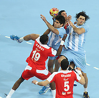 18.01.2013 Barcelona, Spain. IHF men's world championship, prelimanary round. Picture show Pablo Simonet   in action during game between Arnetina vs Tunisia at Palau St Jordi