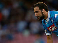 Napoli's Gonzalo Higuain reacts  during the Europa  League Group D soccer match against Brugge  at the San Paolo  Stadium in Naples September 17, 2015