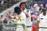 Ryan Sidebottom of Yorkshire consoles Mohammad Amir of Essex after dismissing him during Yorkshire CCC vs Essex CCC, Specsavers County Championship Division 1 Cricket at Scarborough CC, North Marine Road on 7th August 2017