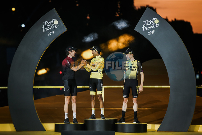 Egan Bernal (COL) Team Ineos wins the overall general classification Yellow Jersey with team mate and defending champion Geraint Thomas (WAL) in 2nd overall and Steven Kruijswijk (NED) Team Jumbo-Visma 3rd on the final podium at the end of Stage 21 of the 2019 Tour de France running 128km from Rambouillet to Paris Champs-Elysees, France. 28th July 2019.<br /> Picture: ASO/Thomas Maheux   Cyclefile<br /> All photos usage must carry mandatory copyright credit (© Cyclefile   ASO/Thomas Maheux)