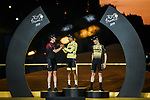 Egan Bernal (COL) Team Ineos wins the overall general classification Yellow Jersey with team mate and defending champion Geraint Thomas (WAL) in 2nd overall and Steven Kruijswijk (NED) Team Jumbo-Visma 3rd on the final podium at the end of Stage 21 of the 2019 Tour de France running 128km from Rambouillet to Paris Champs-Elysees, France. 28th July 2019.<br /> Picture: ASO/Thomas Maheux | Cyclefile<br /> All photos usage must carry mandatory copyright credit (© Cyclefile | ASO/Thomas Maheux)