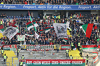 Fans des FC Augsburg - 14.04.2019: Eintracht Frankfurt vs. FC Augsburg, Commerzbank Arena, 29. Spieltag DISCLAIMER: DFL regulations prohibit any use of photographs as image sequences and/or quasi-video.