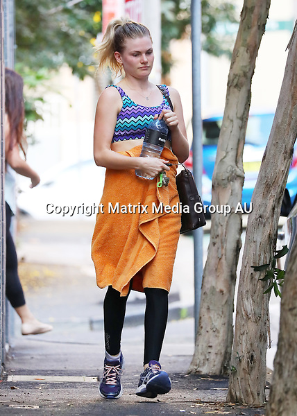 1 MAY 2016 SYDNEY AUSTRALIA<br /> WWW.MATRIXPICTURES.COM.AU <br /> <br /> EXCLUSIVE PICTURES<br /> <br /> Bonnie Sveen pictured going for a midday hot yoga session in Darlinghurst.<br /> <br /> *ALL WEB USE MUST BE CLEARED*<br /> <br /> Please contact prior to use:  <br /> <br /> +61 2 9211-1088 or email images@matrixmediagroup.com.au <br /> <br /> Note: All editorial images subject to the following: For editorial use only. Additional clearance required for commercial, wireless, internet or promotional use.Images may not be altered or modified. Matrix Media Group makes no representations or warranties regarding names, trademarks or logos appearing in the images.