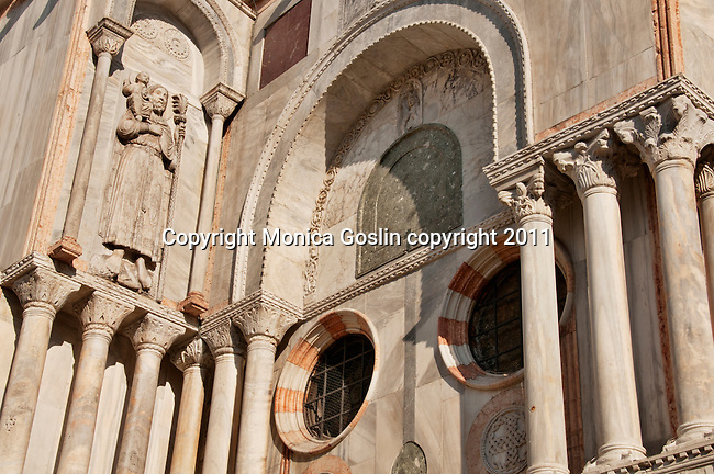 Detail of the sculptures on the facade of Saint Mark's Basilica in Venice, Italy