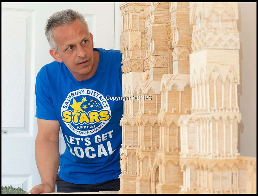 BNPS.,co.uk (01202 558833)<br /> Pic:   RogerArbon/BNPS<br /> <br /> Single-again Barry King has completed his stunning matchstick model of the front of Salisbury Cathedral - thanks to an old flame.<br /> <br /> Barry began the painstaking project in 2012 but downed tools when he become distracted by a long-term relationship.<br /> <br /> But after the couple split up last year, Barry resumed his hobby and completed the replica of the West Front of the Wiltshire cathedral using 730,000 matches.<br /> <br /> The stunning model will go on public display in Salisbury from August 19.