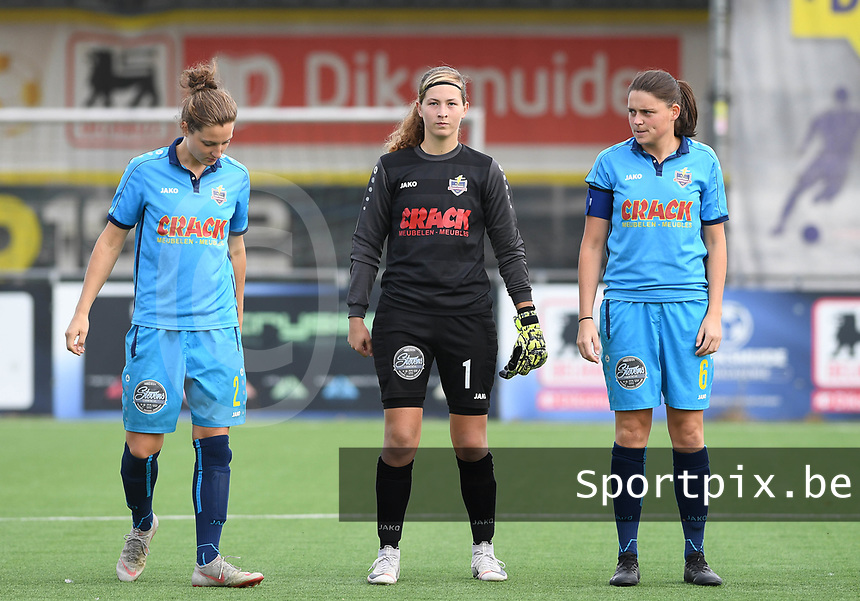 20191005  -  Diksmuide , BELGIUM : FWDM's defender Lisa Coppein , FWDM's goalkeeper Britt De Keyzer and FWDM's Sofie Huyghebaert  pictured during a footballgame between the womensoccer teams from Famkes Westhoek Diksmuide Merkem and KV Mechelen Ladies A , on the 5th matchday in the first division , 1e nationale , in Diksmuide - Belgium - saturday 5th october 2019 . PHOTO DAVID CATRY   Sportpix.be