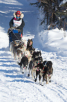 Kelley Griffin on Long Lake at the Re-Start of the 2012 Iditarod Sled Dog Race