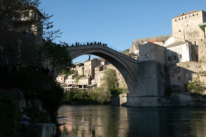 Diver jumps from Old Bridge in Mostar.