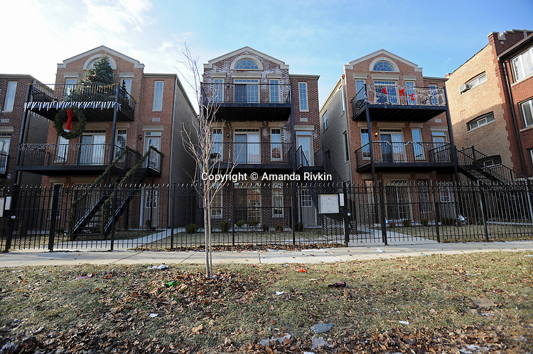 Upper middle class homes that resemble luxury residences found anywhere else in Chicago at 73rd Street and Bennett in the South Shore neighborhood of Chicago, Illinois on January 2, 2008.  Michelle Obama, wife of U.S. President Elect Barack Obama, was raised in a modest bungalow in the South Shore neighborhood on the South Side of Chicago.