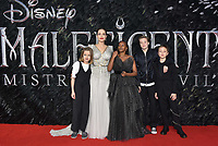 Angelina Jolie and her children<br /> 'Maleficent: Mistress of Evil'  UK film premiere at the BFI Imax Waterloo, London England on October 09, 2019.<br /> CAP/Phil Loftus<br /> ©Phil Loftus/Capital Pictures / MediaPunch ***North America Only****