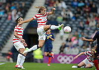 Glasgow, Scotland - Saturday, July 28, 2012: Alex Morgan of the USA Women's soccer team shoots on goal during a 3-0 win over Colombia in the first round of the Olympic football tournament at Hamden Park.