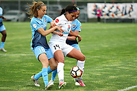 Piscataway, NJ - Sunday April 30, 2017: Sarah Killion, Sydney Leroux during a regular season National Women's Soccer League (NWSL) match between Sky Blue FC and FC Kansas City at Yurcak Field.