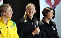 25.08.2016 Silver Ferns captain Katrina Grant at the launch of the Netball Quad Series starting this weekend at Vector Arena in Auckland . Mandatory Photo Credit ©Michael Bradley.