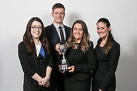 Rebecca Coleman of The Johnson Partnership with the Nottinghamshire Law Society Hammond Cup and runners-up, from left Alexandra Emery of Nelsons, Gary Richardson of Freeths and Stephanie Russell of Stephen Burdon Solicitors
