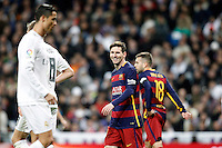 Real Madrid's Cristiano Ronaldo (l) and FC Barcelona's Leo Messi during La Liga match. November 21,2015. (ALTERPHOTOS/Acero) /NortePhoto