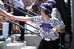 21 MAY 2016:  Harlie Barkley (2) of the University of North Alabama celebrates after scoring on a squeeze play against Humboldt State University during the Division II Women's Softball Championship held at the Regency Athletic Complex on the Metro State University campus in Denver, CO.  North Alabama defeated Humboldt State 10-1 to force a game three.  Jamie Schwaberow/NCAA Photos