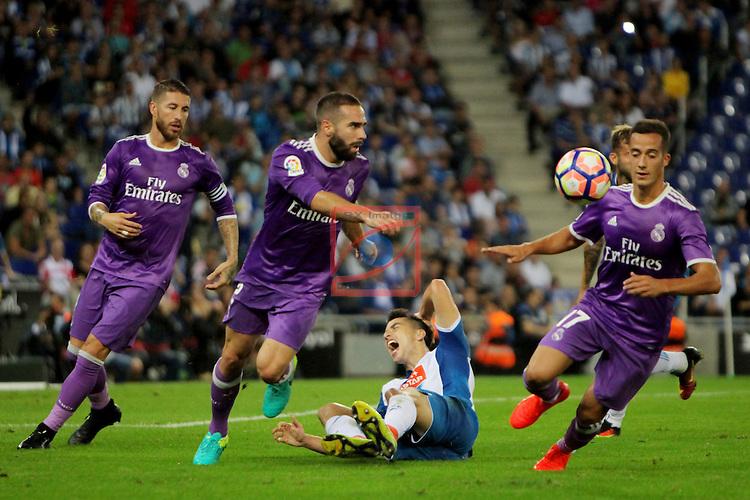 League Santander 2016/2017. Game: 4.<br /> RCD Espanyol vs R. Madrid: 0-2.<br /> Sergio Ramos, Daniel Carvajal, Marc Roca &amp; Lucas Vazquez.
