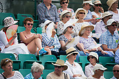June 14th 2017, Nottingham,  England; WTA Aegon Nottingham Open Tennis Tournament day 5;  Spectators on centre court trying to keep cool in the humid conditions